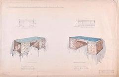 D.L Hadden Design for Executive Desks Geo.M.Hammer 1959 Watercolour and Pencil