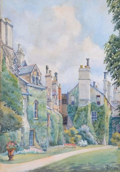 Worcester College Gardens Oxford Thomas Cartwright 1922 Watercolour