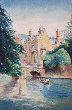 St John's College Cambridge Wren Bridge Ludwig Lund Watercolour Painting