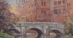 Wren Bridge St. John's College Cambridge University Watercolour c.1900 River Cam