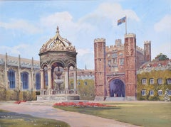 Great Court Trinity College Cambridge by Gwen White Mid Century Gouache Painting