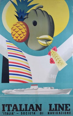 Sassi Italian Line Societa di Navigatione Italia Original Vintage Poster Surreal