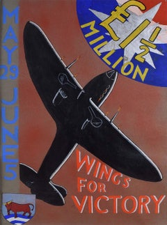 WW2 Oxford Wings for Victory Original Vintage Poster Design Gouache World War 2