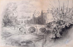 St John's College Cambridge Hanslip Fletcher (1874-1955) Pen and Wash painting