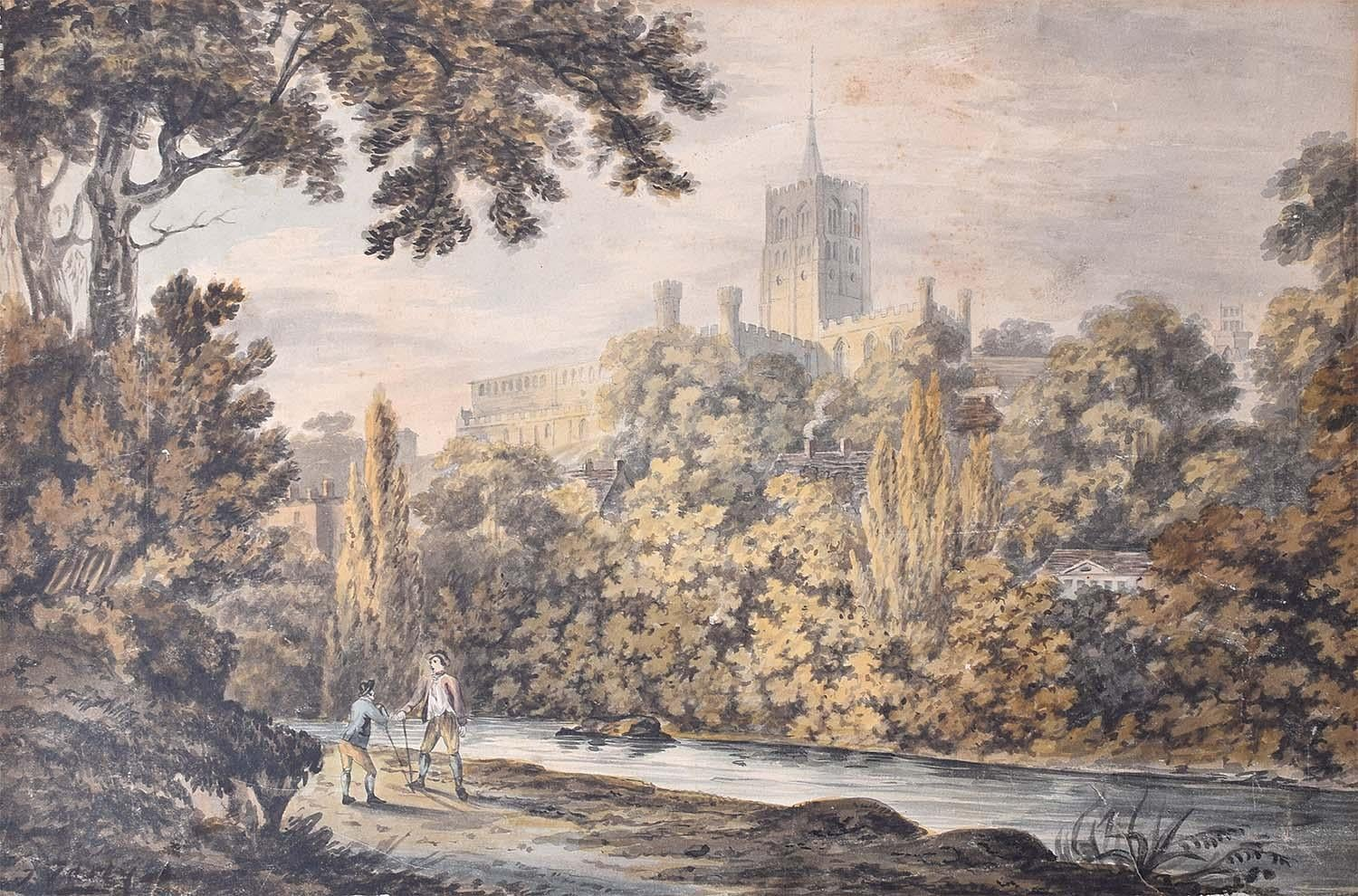 Prospect of Durham from the River 19th Century Watercolour