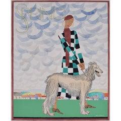 Margaret Macadam, 'Spring: Lady With An Afghan Hound' (c.1930) design