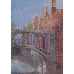 Edward William Trick, 'Bridge of Sighs, St Johns College Cambridge' watercolour