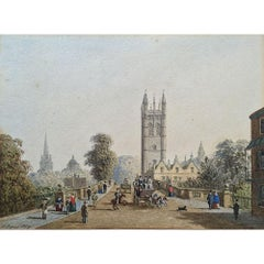 George Pyne, Magdalen College Tower, Oxford Watercolour