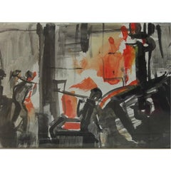 David Smith Sulzer Engineering Works I Switzerland Watercolor Modern British Art