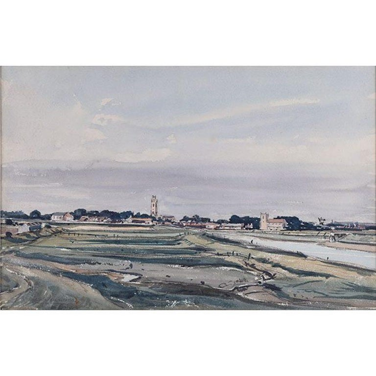 Claude Muncaster 'North Norfolk Churches'  Signed Watercolour Modern British Art - Gray Landscape Art by Claude Muncaster