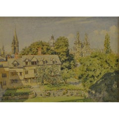 Bernard Cecil Gotch, 'The Queens College Oxford' Signed Watercolour University