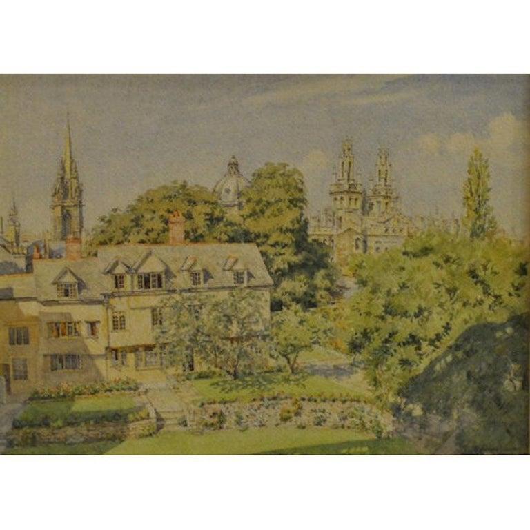 Bernard Cecil Gotch, 'The Queens College Oxford' Signed Watercolour University - Art by Bernard Cecil Gotch