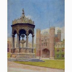 Anonymous, Trinity College Cambridge, Great Court & Fountain Watercolour c.1900