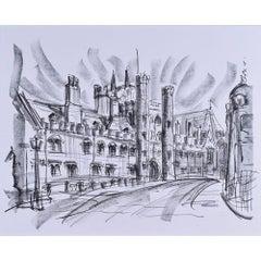 Tony Broderick, St John's College Great Gate, Cambridge (c.1990) conté drawing