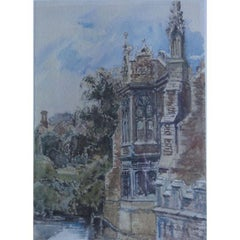 John Fulleylove 'St John's College Cambridge, The Old Library' 1880 watercolour