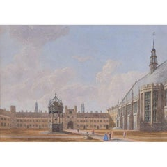 George Pyne, Great Court Trinity College Cambridge (1850) watercolour