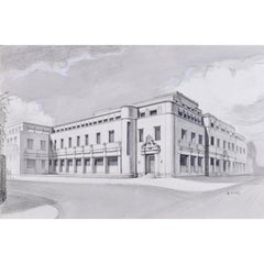 WC Ives, The New Bodleian Building, Oxford (1946) pencil drawing