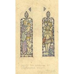 Reginald Hallward, Sketch for window at St Etheldreda's, Fulham