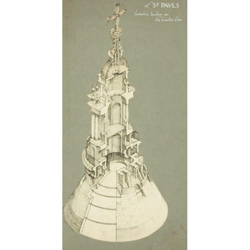 John Charles Rogers RIBA, 'The Lantern, St Pauls Cathedral' graphite drawing