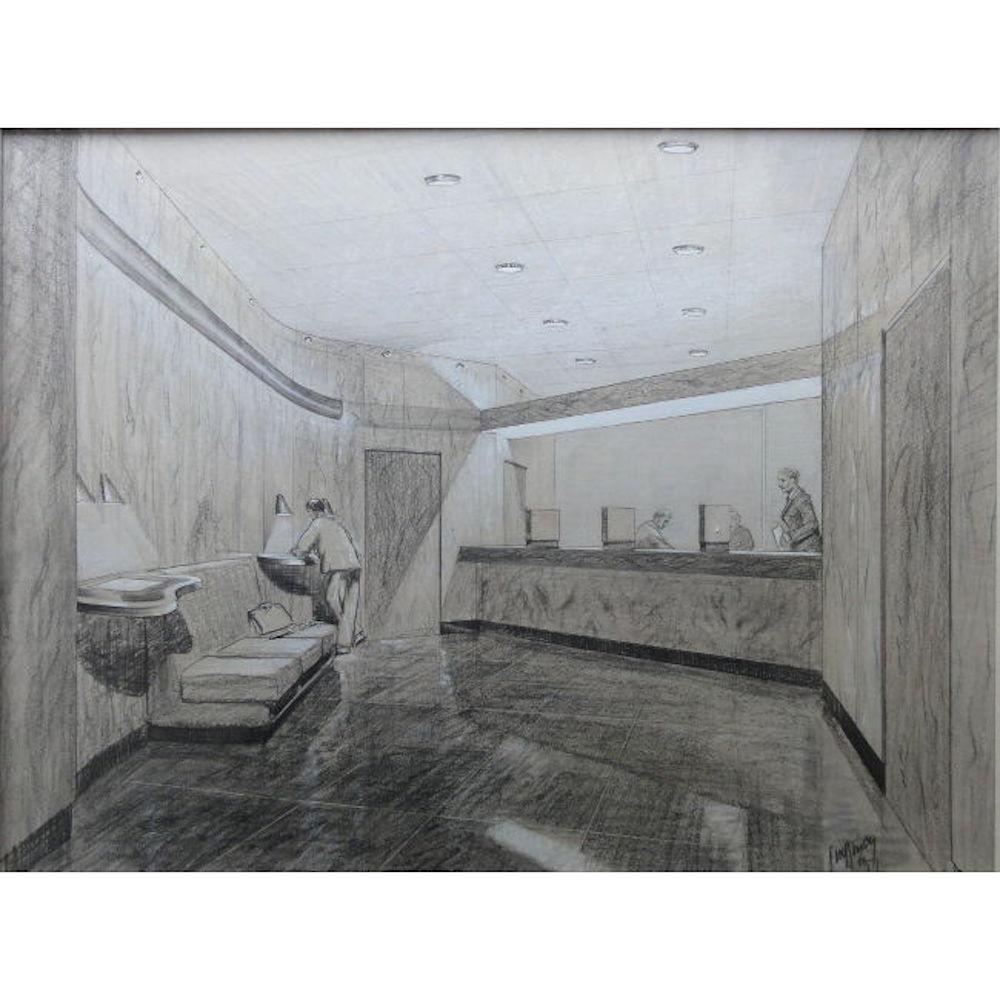 JDM Harvey, 'Design for a bank interior' (1965) Architectural Perspective Art