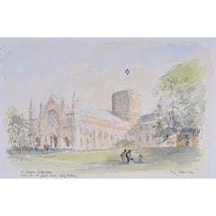 Sir Hugh Casson, 'St. Albans Cathedral' lithographic proof print (c.1980)
