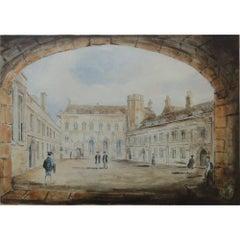 Richard Bankes Harraden, 'First Court, Pembroke College, Cambridge' c.1830
