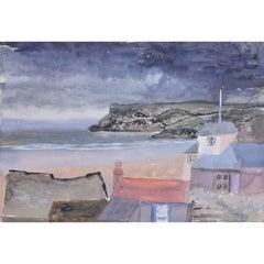 Clifford Ellis Teignmouth UK Beach Scene c1947 watercolour
