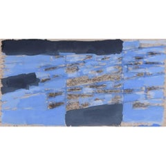 Clifford Ellis c. 1950 Painting Blue and Grey - Abstract mid century Watercolour
