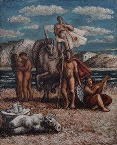 John Minton Figures on the Beach Oil Painting 1937 de Chirico Modern British Art