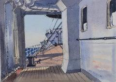 Claude Muncaster: 1948 City of New York Maritime Art watercolour ship steamer