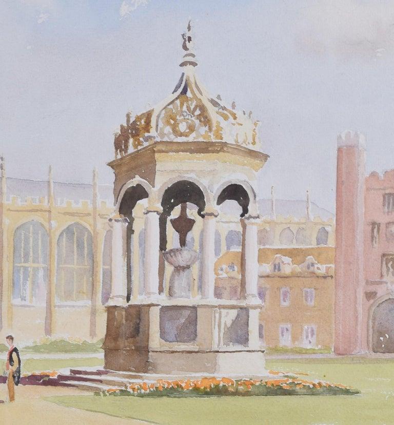 Derek Abel Trinity College Cambridge Great Court watercolour University England - Realist Art by Derek Abel