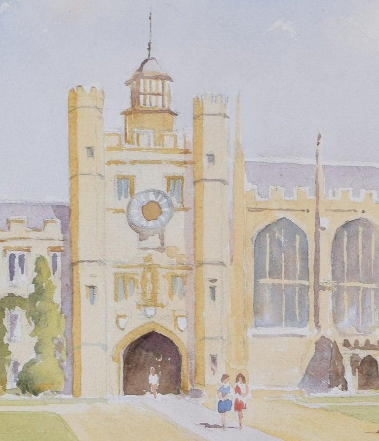 Derek Abel Trinity College Cambridge Great Court watercolour University England - Gray Landscape Art by Derek Abel