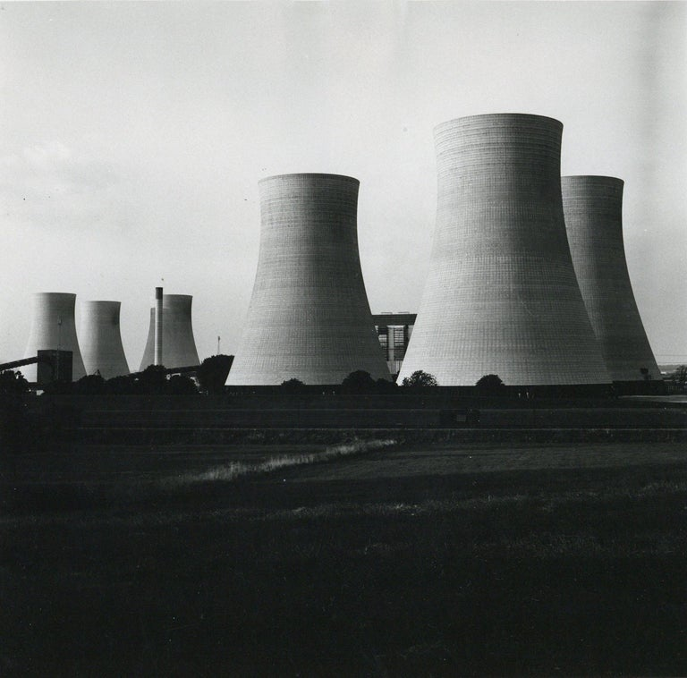 Rosemary Ellis Cooling Towers II Silver Gelatin Print Photograph for Pipes Wires - Black Black and White Photograph by Rosemary Ellis