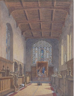 George Pyne St John's College, Cambridge, The Old Chapel 1850 watercolour