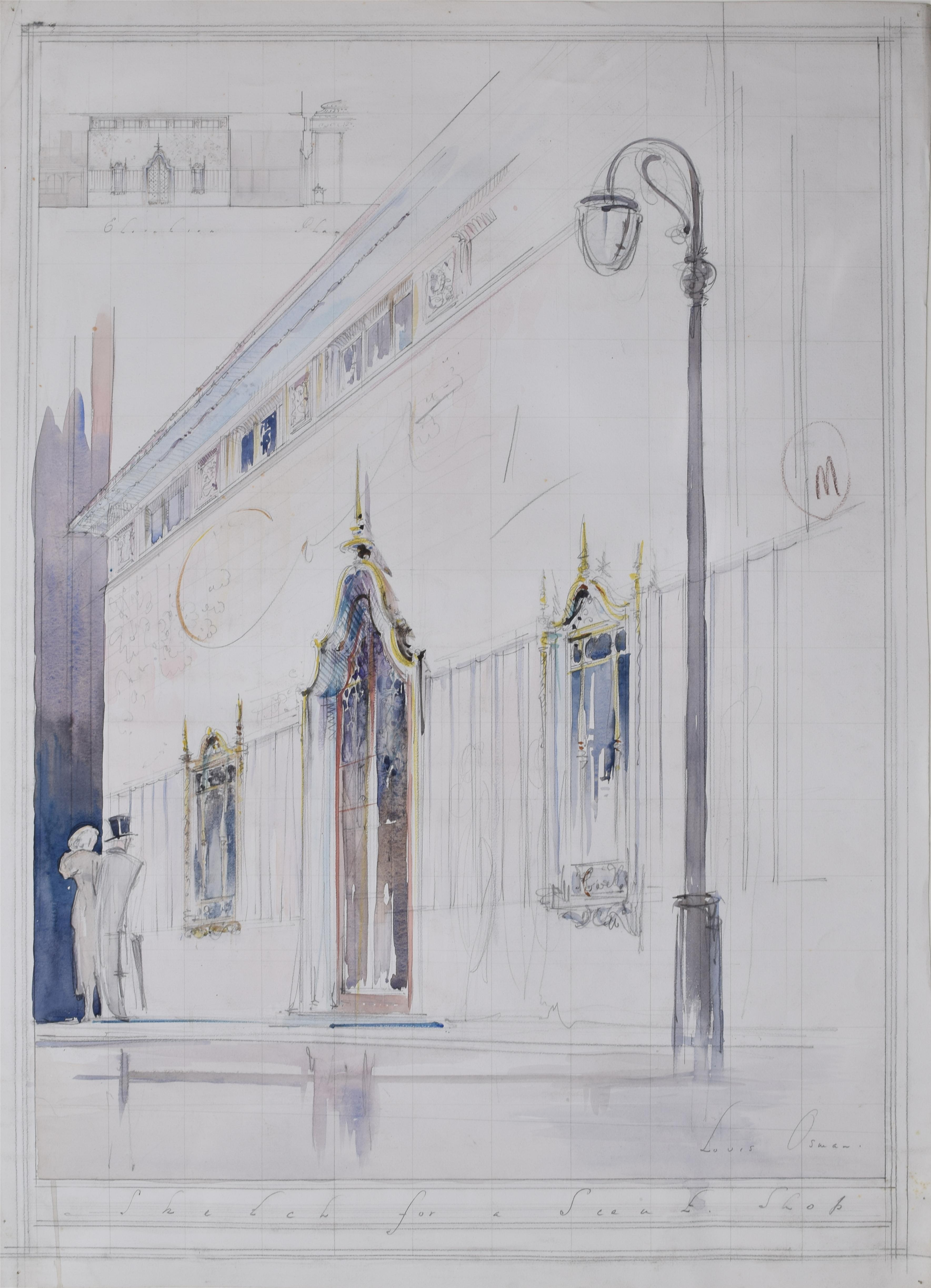 Louis Osman Architectural Drawing Design for a Shop Front with Elegant Figures