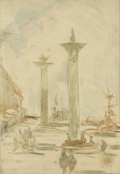 Pre-Raphaelite Columns of St. Theodore & St. Mark, Piazza San Marco Venice Italy