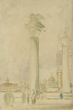 Pre-Raphaelite School Column of St Mark (Lion), Piazza San Marco, Venice, Italy