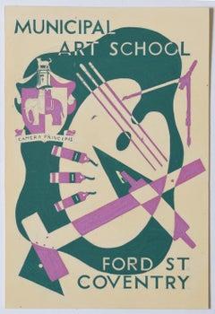 Art Deco gouache original artwork 1937 Municipal Art School Coventry Hammond