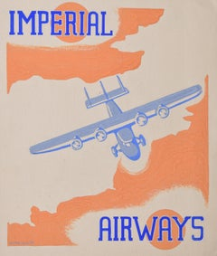 Imperial Airways Art Deco original gouache design 1937 advertising poster