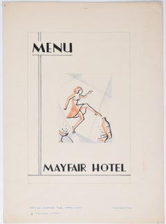 Art Deco gouache original artwork 1936 design for Mayfair Hotel Menu  London