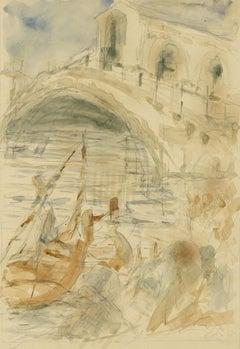 follower John Singer Sargent Gondola with Rialto Bridge, Venice, Italy drawing