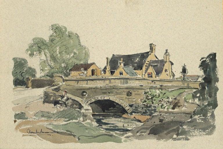 Claude Muncaster South Cerney Gloucestershire The Old George Inn Watercolour  - Beige Landscape Art by Claude Muncaster