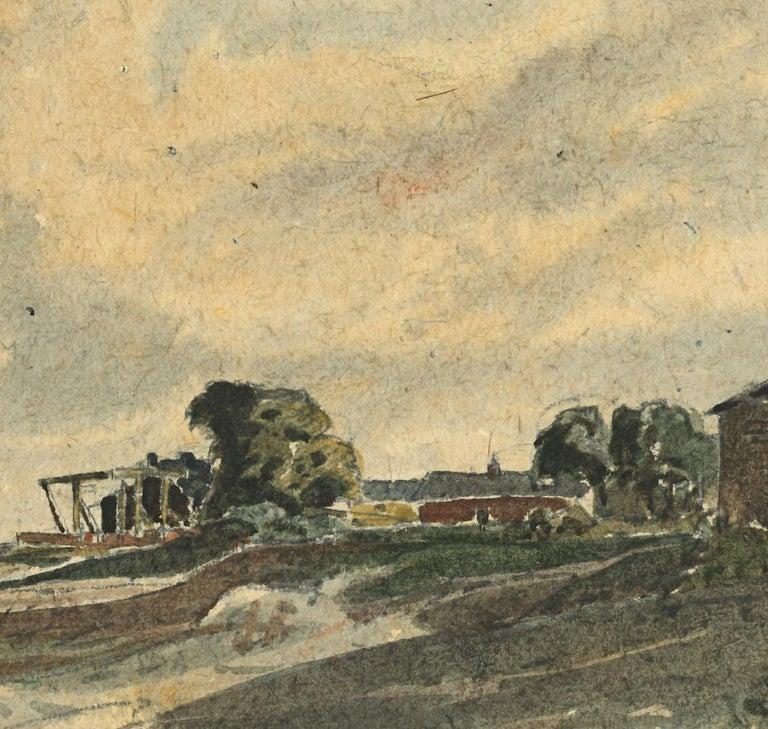 Claude Muncaster Canal Foot Ulverston Canal Morcambe Watercolour  - Beige Landscape Art by Claude Muncaster