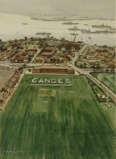 Claude Muncaster HMS Ganges from a Naval Helicopter 1956 maritime art watercolor