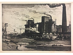 Claude Muncaster Factory Scene UK aquatint print Modern British Art