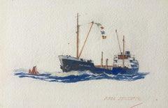 Laurence Dunn Fair Jennier painting maritime art ship boat Christmas Card wife