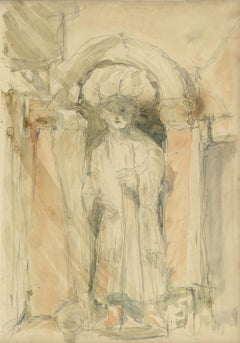 Follower of John Singer Sargent Sculpture of a Figure in a Niche, Venice, Italy