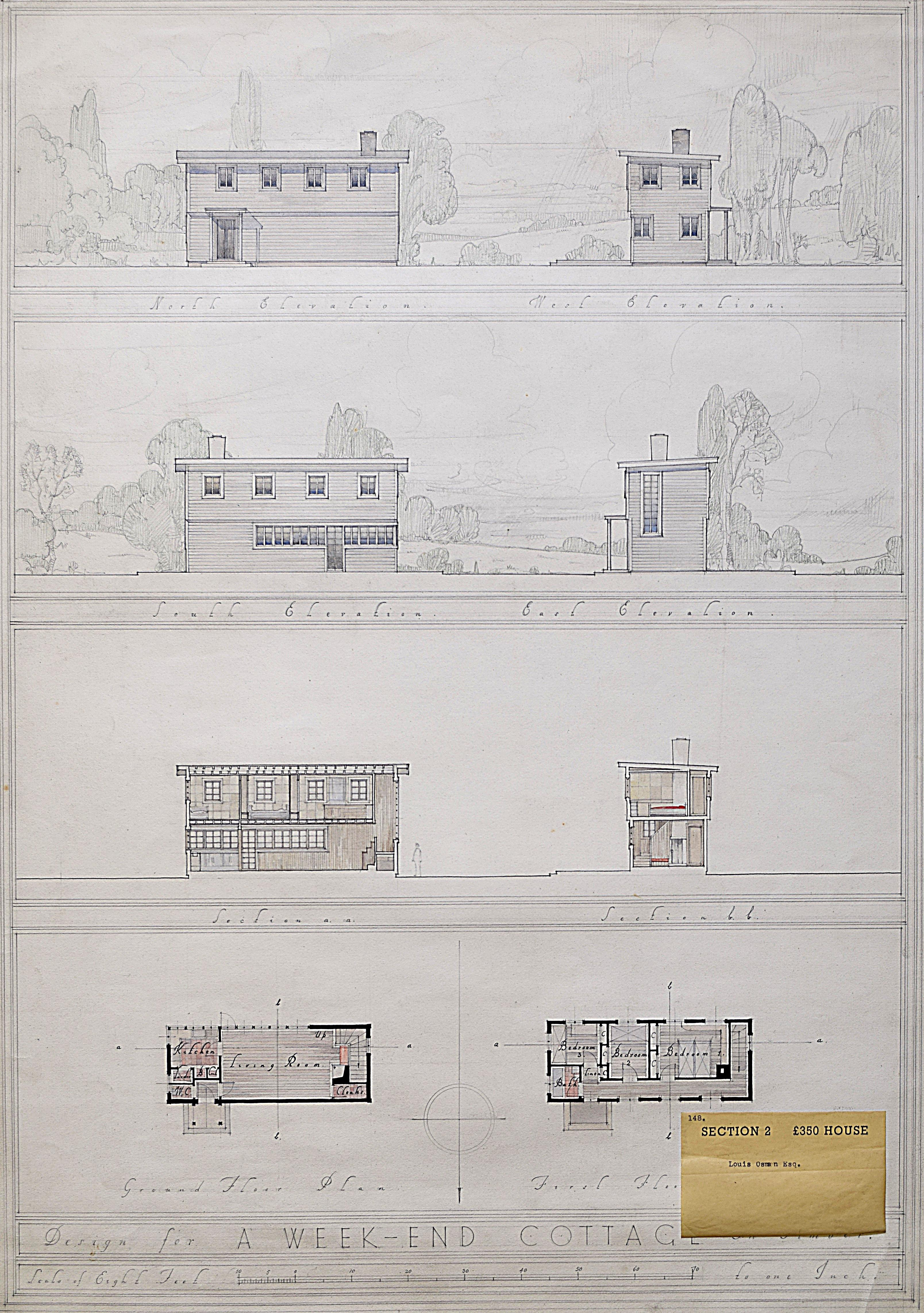 Louis Osman architectural design for Modernist House Weekend Cottage 1930s