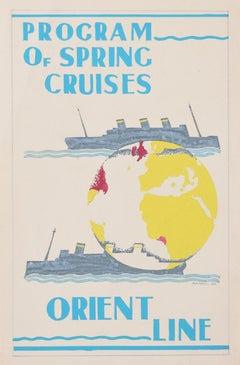 Orient Line Art Deco original gouache design Spring Cruises advertising poster