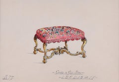 Design for Carved Gilt Stool. 1930s for George M Hammer designers, London UK